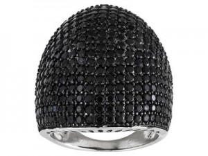 black spinel dome ring